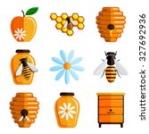 bee and honey icon set. vector... | Shutterstock .eps vector #327692936