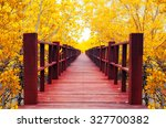 Red Wooden Bridge Into The...