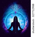 yoga cosmic space meditation ... | Shutterstock . vector #327712988