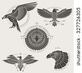 set of vintage thin line eagle... | Shutterstock .eps vector #327726305
