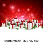christmas red background with... | Shutterstock .eps vector #327737552