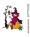 little witch with a flashlight  ... | Shutterstock .eps vector #327755102