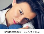 a beautiful woman hugging her... | Shutterstock . vector #327757412
