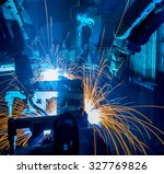 welding robots movement in a... | Shutterstock . vector #327769826