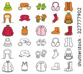 set of winter clothing icons....