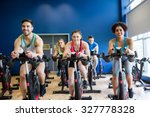 fit people in a spin class the... | Shutterstock . vector #327778328