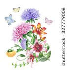 watercolor set of flowers | Shutterstock . vector #327779006