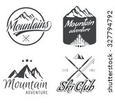 set of vector vintage mountain... | Shutterstock .eps vector #327794792