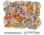 vector illustration of happy... | Shutterstock .eps vector #327797246
