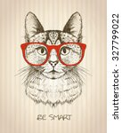 Stock vector vintage graphic poster with hipster cat with red glasses against old paper striped backdrop be 327799022