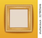 empty gold frame hanging on the ... | Shutterstock .eps vector #327805646