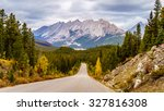 The Colin Mountain Range viewed from Maligne Lake Road in the Fall in Jasper National Park