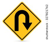 traffic sign  right u turn sign ... | Shutterstock .eps vector #327821762