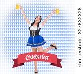 pretty oktoberfest girl holding ...   Shutterstock . vector #327832328