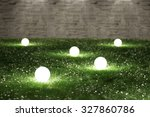 Glowing Spheres In Garden 3d...