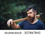 brutal brunette bearded man... | Shutterstock . vector #327867842