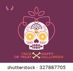cute halloween skull character  ... | Shutterstock .eps vector #327887705