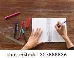 hand women writing a pen on a... | Shutterstock . vector #327888836