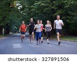 People Group Jogging  Runners...