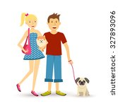 dog lovers family group... | Shutterstock . vector #327893096
