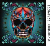 colorful skull with filigree  | Shutterstock . vector #327898775