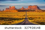 monument valley at sunrise. | Shutterstock . vector #327928148