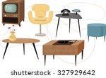 set of 1950s style mid century... | Shutterstock .eps vector #327929642