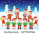 children holding christmas... | Shutterstock .eps vector #327944966