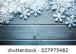 snowflakes border on grunge...   Shutterstock . vector #327975482