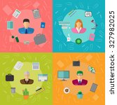 colorful vector business office ... | Shutterstock .eps vector #327982025