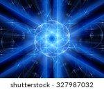 blue glowing winter fractal ...   Shutterstock . vector #327987032