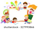kids and book frame | Shutterstock .eps vector #327993866