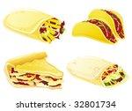 fast food set. taco  burrito ... | Shutterstock .eps vector #32801734
