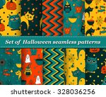 set of halloween seamless... | Shutterstock .eps vector #328036256