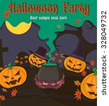 halloween party poster with... | Shutterstock .eps vector #328049732