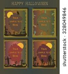 halloween greeting cards ... | Shutterstock .eps vector #328049846