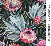 tropical pattern with flowers... | Shutterstock . vector #328050422