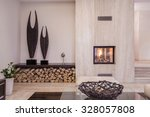 modern fireplace with wood in...   Shutterstock . vector #328057808