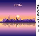 Delhi City Skyline Silhouette...
