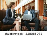 portrait of two young business... | Shutterstock . vector #328085096