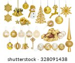 Big set of golden christmas new ...