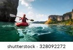 lady paddling the kayak in the...   Shutterstock . vector #328092272