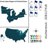 vector set of great lakes... | Shutterstock .eps vector #328117418
