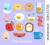 set of smiling cute breakfast... | Shutterstock .eps vector #328121732