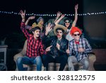 group of happy young friends... | Shutterstock . vector #328122575