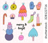 adorable set of hand drawn... | Shutterstock .eps vector #328122716