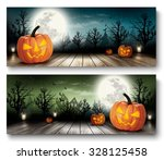 two holiday halloween banners... | Shutterstock .eps vector #328125458