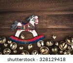 christmas  bells on wood ... | Shutterstock . vector #328129418