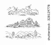 three hand drawn sketches of... | Shutterstock .eps vector #328129778