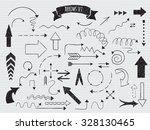 doodle set of arrows. hand... | Shutterstock .eps vector #328130465